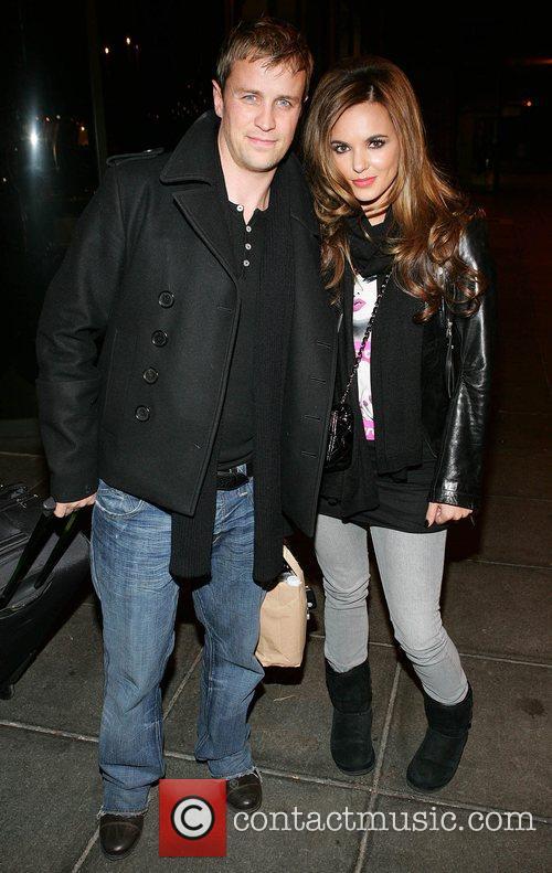 Kian Egan and Jodi Albert leaving RTE studios...