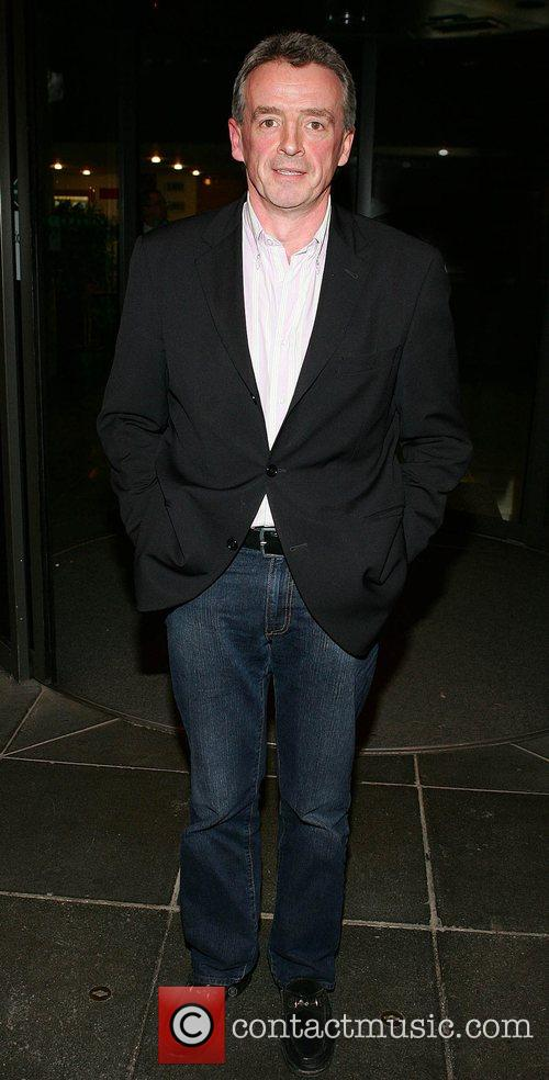 Ryanair boss Michael O'Leary leaving RTE studios where...