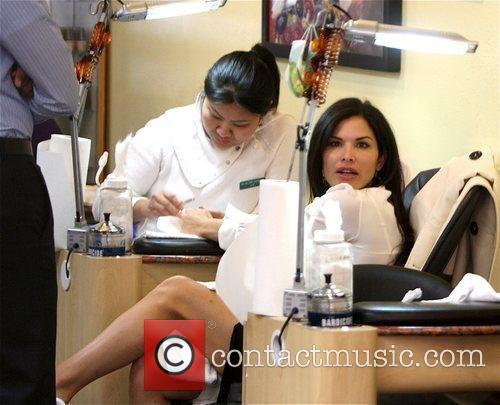 Media personality Lauren Sanchez getting a pedicure in...