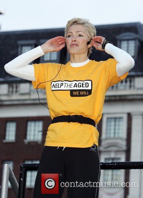 Nell McAndrew hosts Aerobic warm-up in Victoria Gardens...
