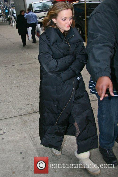 Leighton Meester, wrapped up in long trail down...