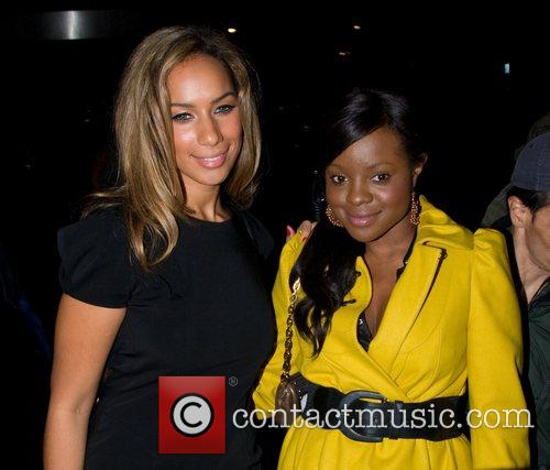 Leona Lewis and a friend leaving the Sanderson...