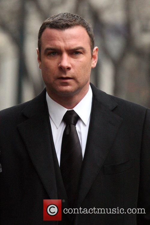 Liev Schreiber seen filming on location of his...