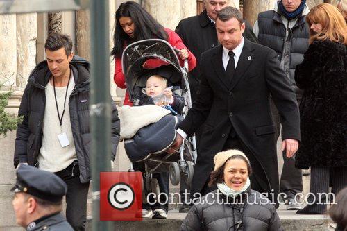 Liev Schreiber seen with is son whilst filming...