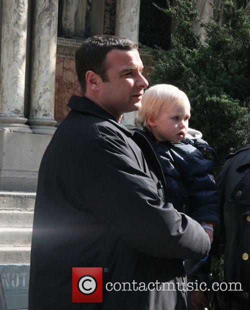Liev Schreiber and son Alexander Schreiber on location...