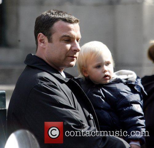 Liev Schreiber with son Alexander Shreiber filming his...