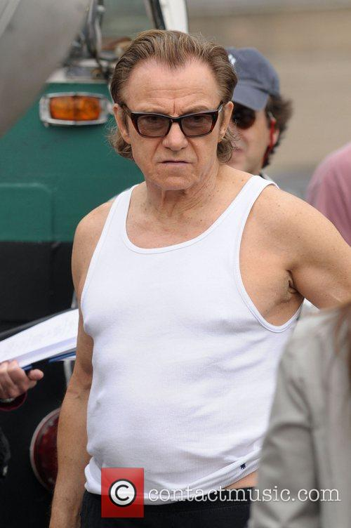 harvey keitel on the set of