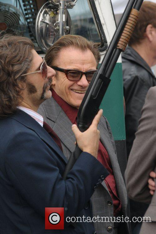 Michael Imperioli and Harvey Keitel on the set...