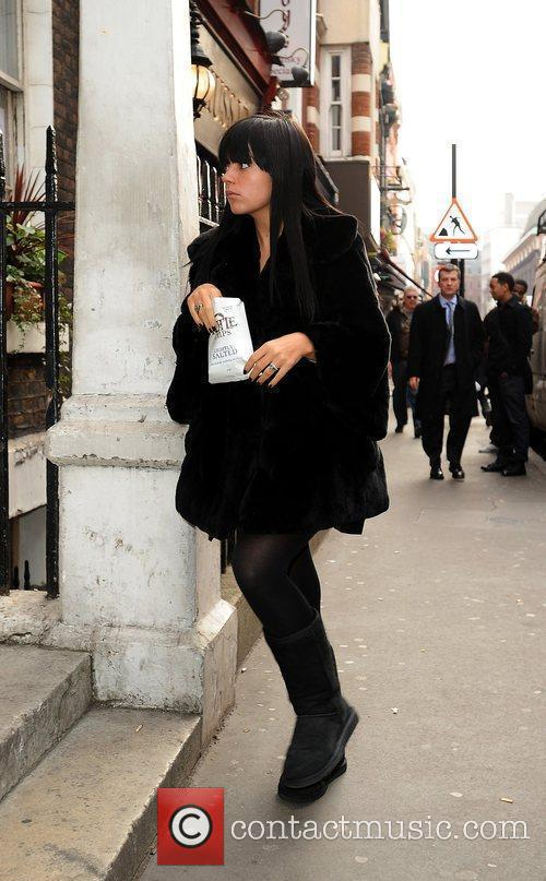 Lily Allen arrives at a venue in Soho...