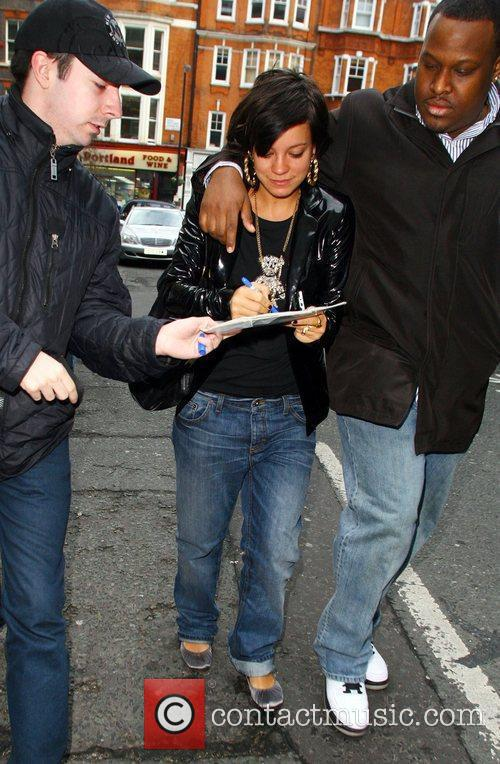 Lily Allen leaves BBC Radio 2 studios with...