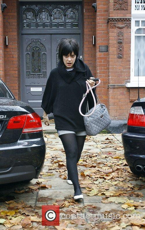 Lily Allen seen leaving her home wearing the...