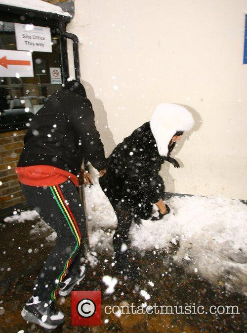 'Publicity shy' Lily Allen has a snowball fight...