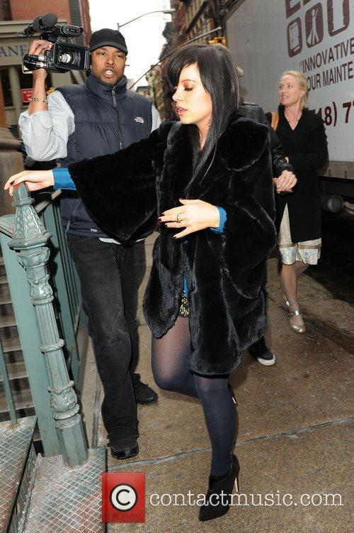 Lily Allen arriving at her hotel after visiting...