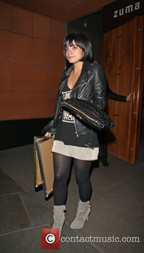 Lily Allen leaves Zuma restaurant London, England