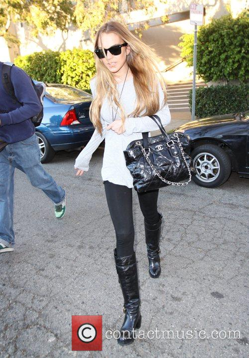 Leaving a Scientology centre in Beverly Hills. She...