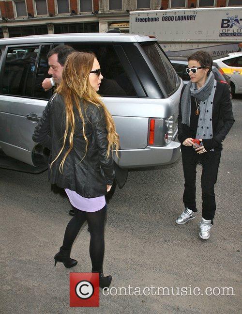 Lindsay Lohan and Samantha Ronson arrive at a...