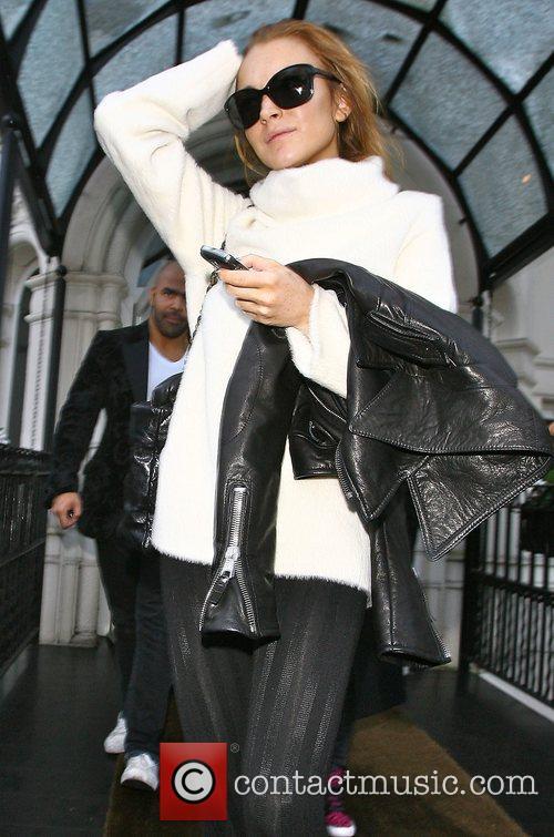 Lindsay Lohan leaving her hotel this morning London,...