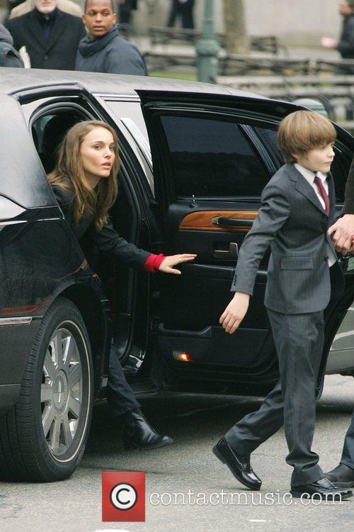 Natalie Portman and Charlie Tahan on the set...