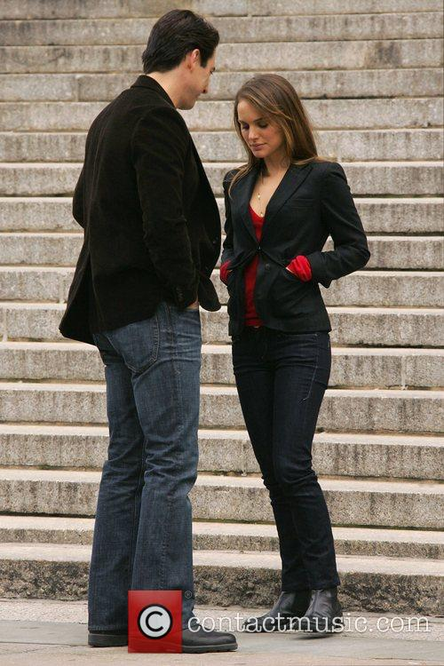 Scott Cohen, Natalie Portman on the set of...