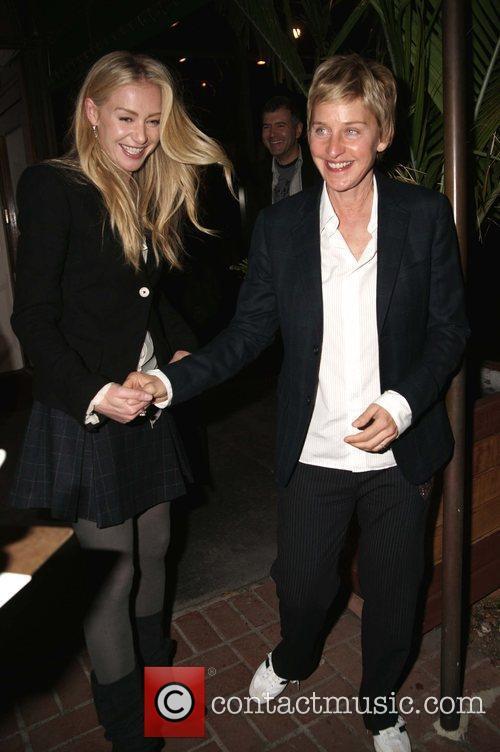 Ellen DeGeneres and Portia de Rossi leave madeos...