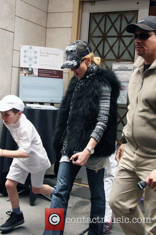 Madonna  departs the Kabbalah Centre with her...