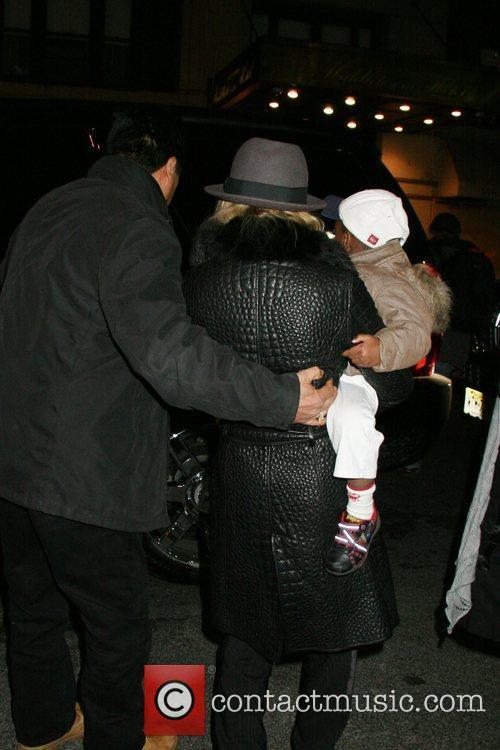 David Banda and Madonna leaving the Manhattan Kabbalah...