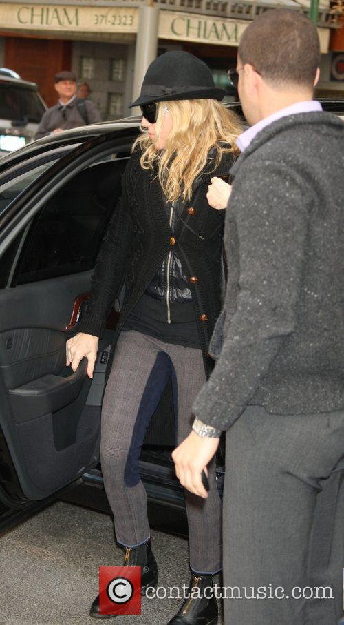 Madonna arriving at the Kabbalah Centre wearing a...
