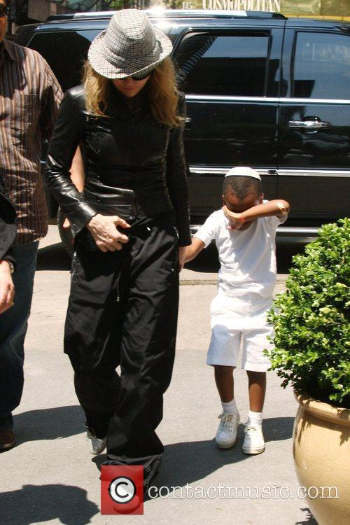 Madonna and Adopted Son David Banda Visit The Kabbalah Center 2
