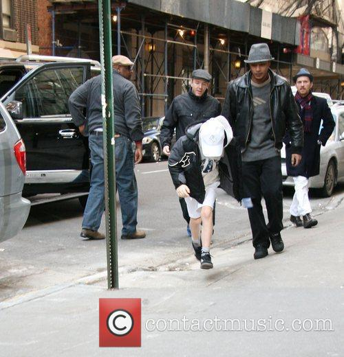Guy Ritchie and Rocco Ritchie outside the Manhattan...
