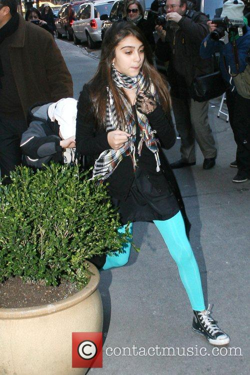 Lourdes Maria Ciccone Leon and Rocco Ritchie outside...