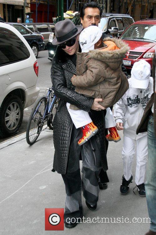 Madonna, David Banda and Rocco Ritchie arrive at...
