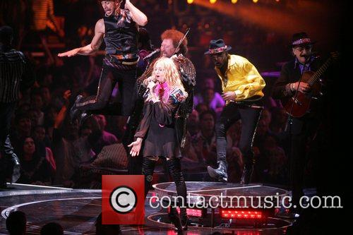Madonna performs during her 'Sticky & Sweet' tour...