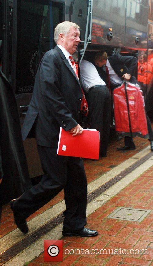 Manchester United manager, Sir Alex Ferguson arrives at...