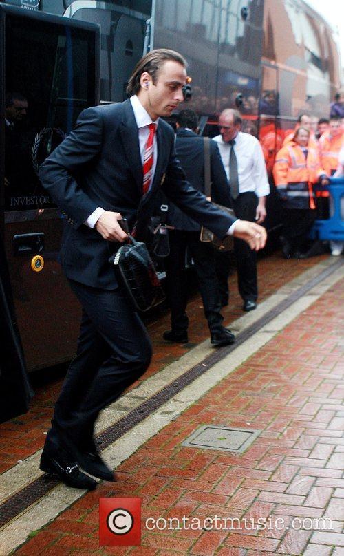 Manchester United player, Dimitar Berbatov arrives at Ewood...