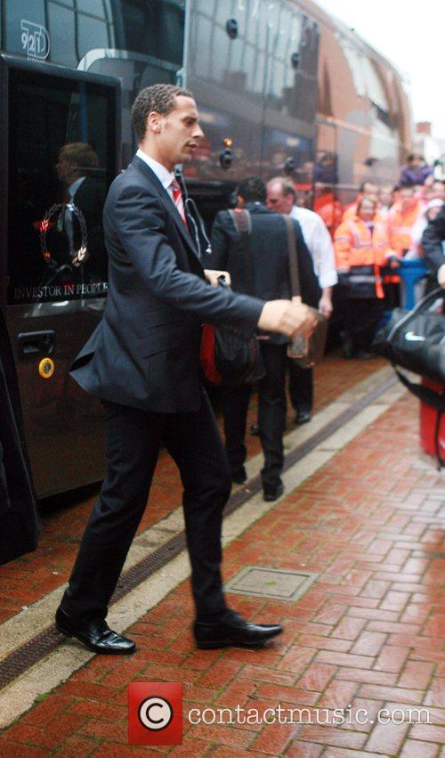 Manchester United player, Rio Ferdinand arrives at Ewood...