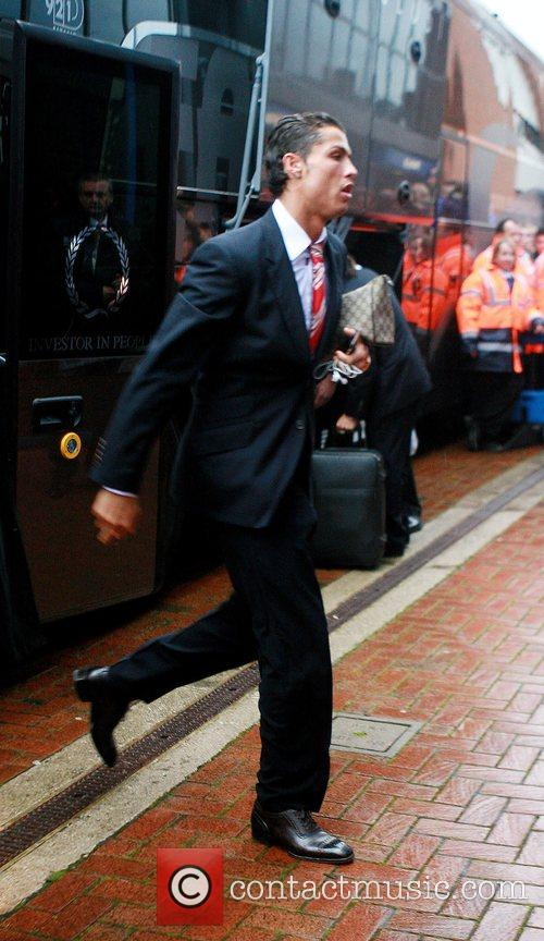 Manchester United player, Cristiano Ronaldo arrives at Ewood...
