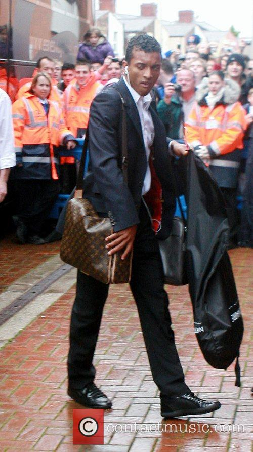 Manchester United player, Nani arrives at Ewood Park...