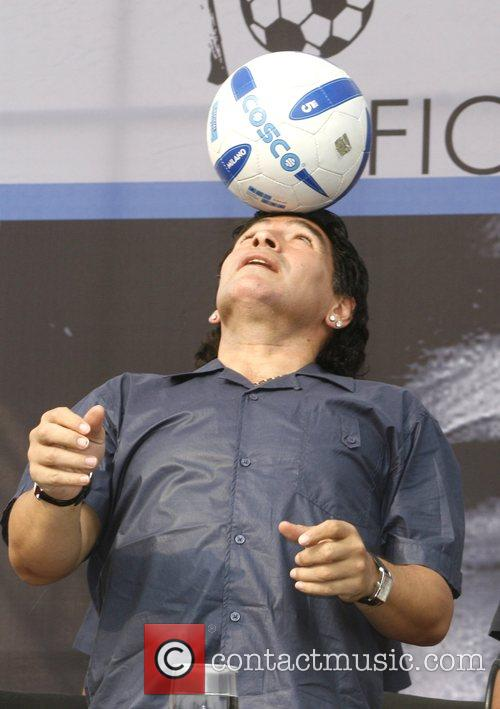 Argentina manager Diego Maradona hosts a press conference...