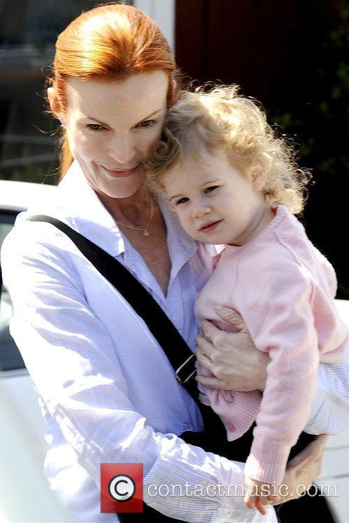 Marcia Cross leaving The Brentwood Country Mart after...