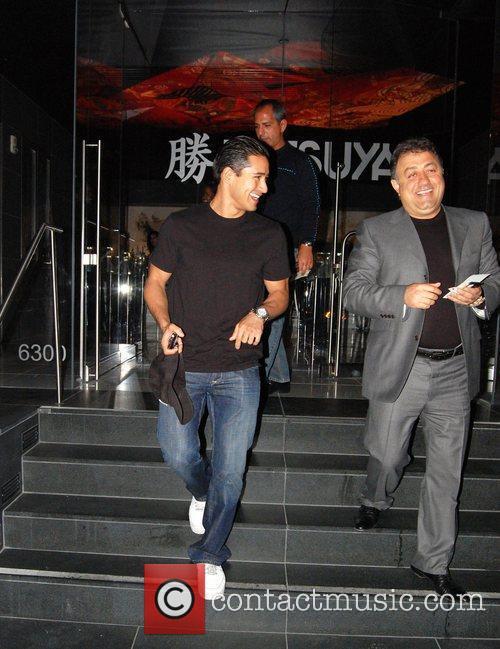 Mario Lopez leaving Katsuya restaurant Los Angeles, California