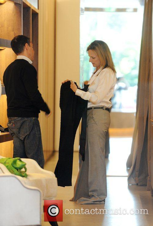 Academy Award-winning actress Marlee Matlin tries on clothes...