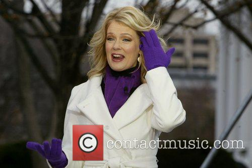 Mary Hart, from Entertainment Tonight, filming a segment...