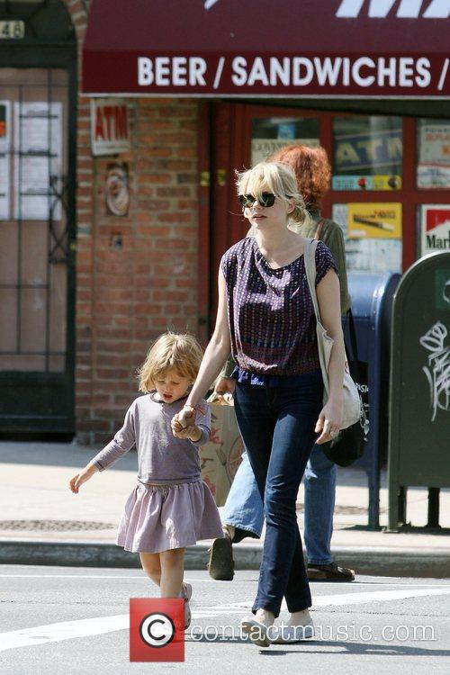 Michelle Williams, Matilda Ledger out, about in Brooklyn enjoying the warm weather. Matilda gets a lift from her mom and an older mystery male. 11