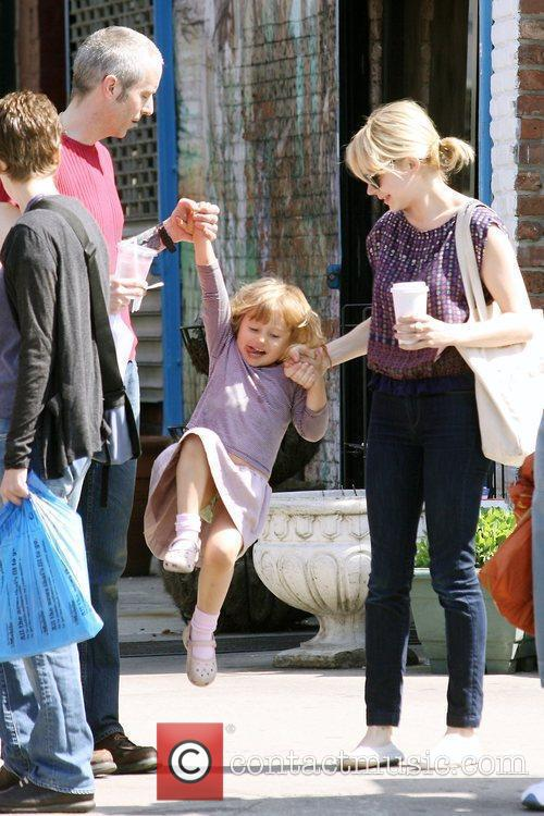 Michelle Williams, Matilda Ledger out, about in Brooklyn enjoying the warm weather. Matilda gets a lift from her mom and an older mystery male. 14