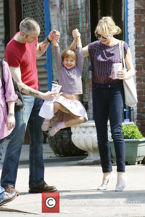 Michelle Williams, Matilda Ledger out, about in Brooklyn enjoying the warm weather. Matilda gets a lift from her mom and an older mystery male. 12