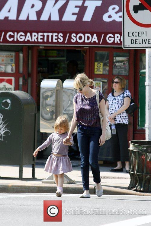 Michelle Williams, Matilda Ledger out, about in Brooklyn enjoying the warm. Matilda gets a lift from her mom and an older mystery male. 17