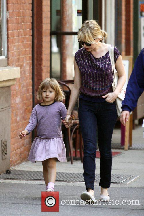 Michelle Williams, Matilda Ledger out, about in Brooklyn enjoying the warm. Matilda gets a lift from her mom and an older mystery male. 13