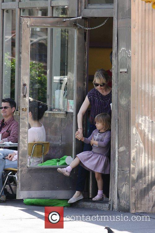 Michelle Williams, Matilda Ledger out, about in Brooklyn enjoying the warm. Matilda gets a lift from her mom and an older mystery male. 16