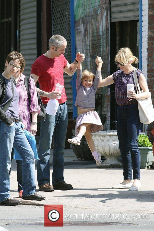 Michelle Williams, Matilda Ledger out, about in Brooklyn enjoying the warm. Matilda gets a lift from her mom and an older mystery male. 9