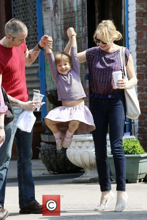Michelle Williams, Matilda Ledger out, about in Brooklyn enjoying the warm. Matilda gets a lift from her mom and an older mystery male. 3